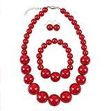 Shuny Schmuckset,Rote Perlenkette,Nachgemachte...