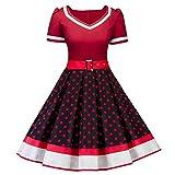 MisShow Damen elegant 50er Jahre Petticoat Kleider Gepunkte...