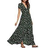 Bellelove Langes Kleid Damen Sommer V-Ausschnitt lässig...