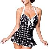 Belsira Vintage Swimdress mit Schleife und Schößchen L