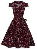 Zeagoo Damen Vintage 50er Jahre Kleid Swing Rockabilly...