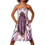 H112 Damen Sommer Aztec Bandeau Bunt Tuch Kleid Tuchkleid...
