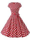 Dressystar Damen Vintage 50er Cap Sleeves Dot Einfarbig...