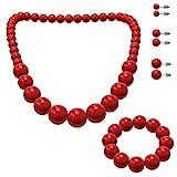 SoulCats® Schmuckset, Perlenkette, Perlenarmband und 3 Paar...