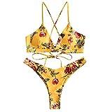ZAFUL Damen Bikini-Set Geblumtes Bikini Set mit Schnürung...