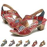 Camfosy Damen Leder Vintage Sandalen mit...
