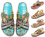 Camfosy Damen Leder Sandalen Vintage Stroh Sandale Flip...