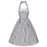 Lindy Bop Damen Kleid Deidre White Polka schwarz weiß...