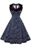 Axoe Damen Polka Dots 60er Jahre Kleid Rockabilly Armellos...