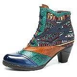 Socofy Damen Stiefeletten, Leather Stiefel Damen mit Absatz...