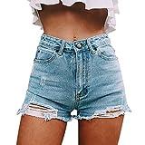 semen Damen High Waist Basic Jeansshorts Bequeme Kurze Jeans...