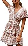 ECOWISH Damen Kleider Boho Vintage Sommerkleid V-Ausschnitt...
