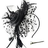 DRESHOW Fascinators Hut Blume Mesh Bänder Federn auf einem...