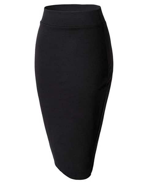 Bleistiftrock Pencil Skirt Midi Rock schwarz lang Damen