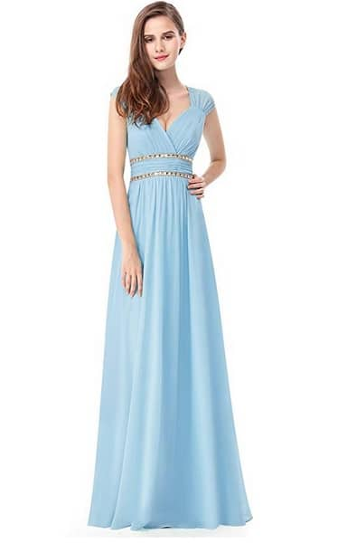 Brautjungfernkleid lang blau pastell günstig