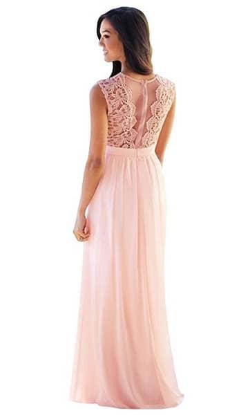 Brautjungfernkleid lang rosa altrosa pastell günstig