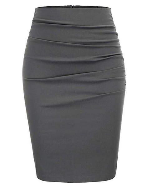Grace Karin Bleistiftrock Pencil Skirt grau lang Damen