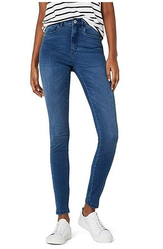 High Waist Skinny Jeans Damen blau