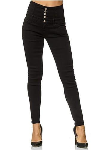 High Waist Skinny Jeans schwarz Damen