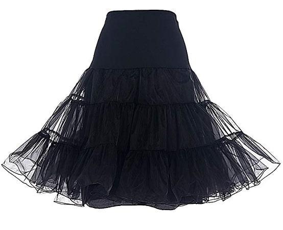 50er Jahre Vintage Rockabilly Petticoat Rock Damen schwarz