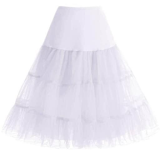 50er Jahre Vintage Rockabilly Petticoat Rock Damen weiß