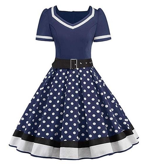 50er Swing Kleid Vintage Rockabilly Kleid Damen blau weiße Punkte