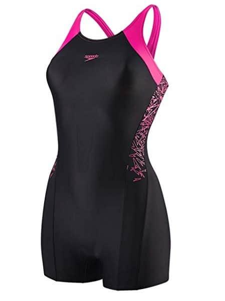 Badeanzug mit Bein Mädchen schwarz rosa