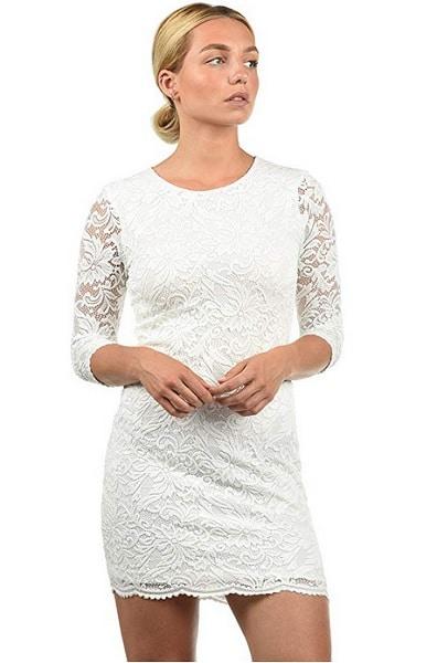 Bleistiftkleid Pencil Kleid Dress weiß mit Spitze Etuikleid festlich