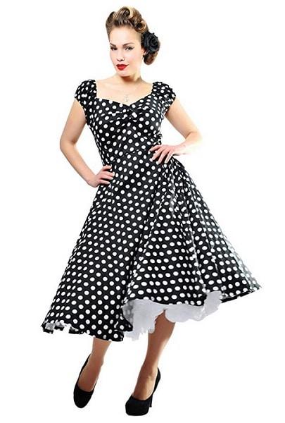 Collectif Clothing Kleid Dolores schwarz weiß Punkte