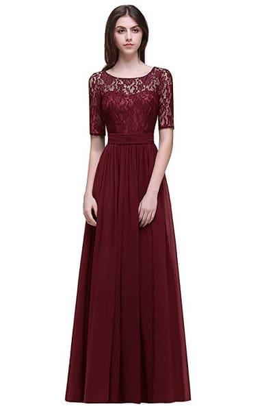 Empire Kleid Empirekleid lang Damen rot Spitze