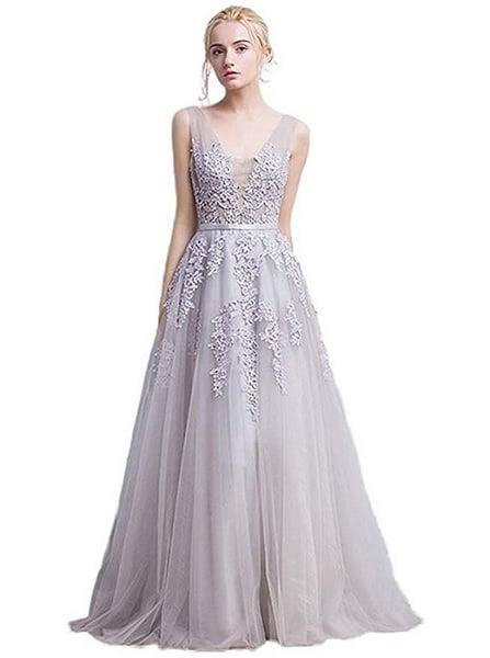 Empire Kleid Empirekleid lang Damen weiß Spitze