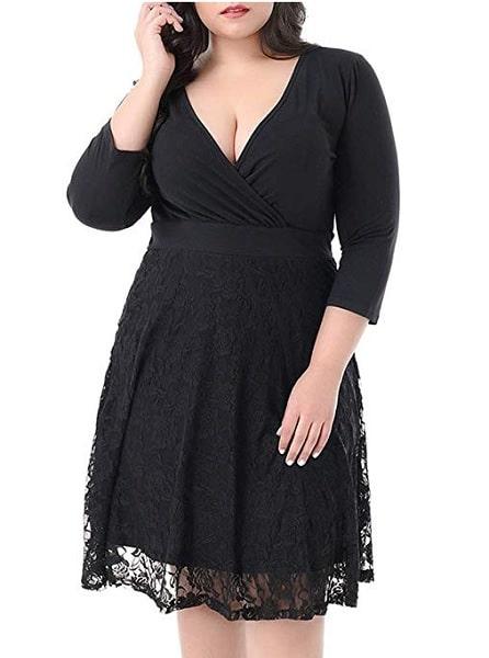 Empire Kleid Empirekleid lang für Mollige Damen schwarz Spitze