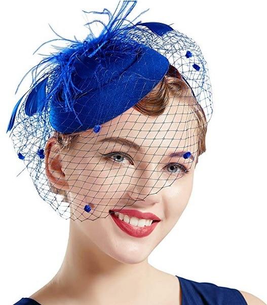 Fascinator Hut blau Damen Braut Hochzeit
