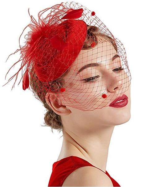 Fascinator Hut rot Damen Braut Hochzeit