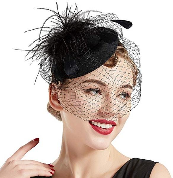 Fascinator Hut schwarz Damen Braut Hochzeit