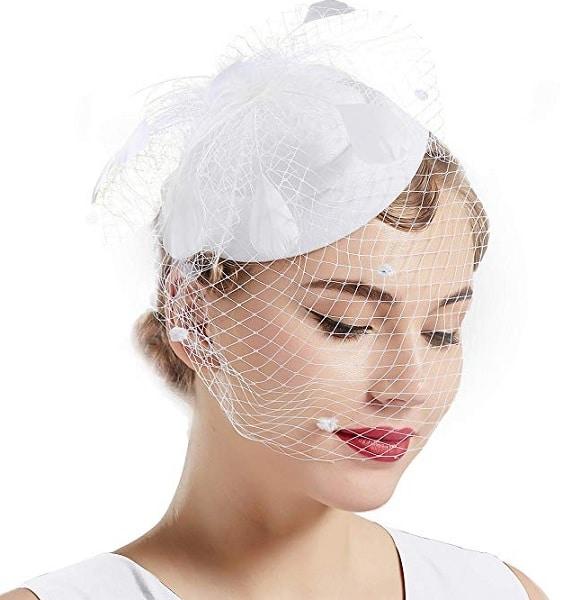 Fascinator Hut weiß Damen Braut Hochzeit