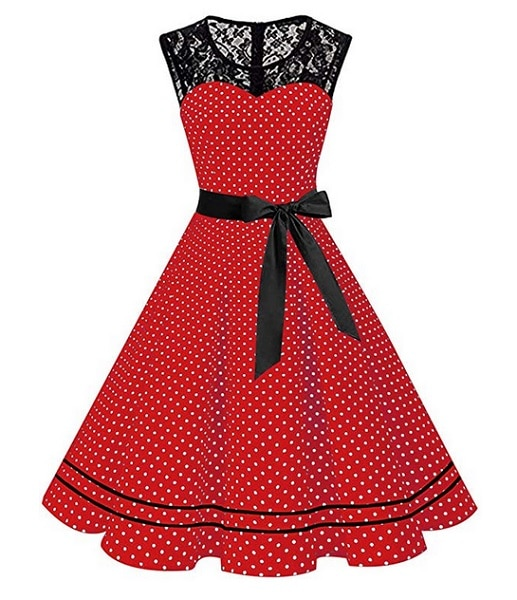 Swing Kleid 50er Jahre Vintage Rockabilly Kleid Damen Outfit rot weiß