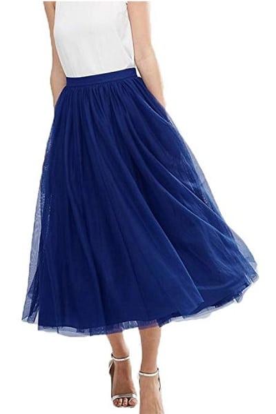 Tüllrock Damen lang blau