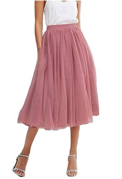 Tüllrock Damen lang rosa