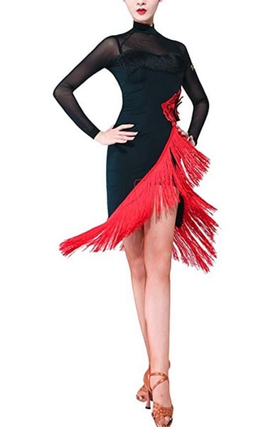 Tanzkleid Latein Damen Flamenco schwarz rot