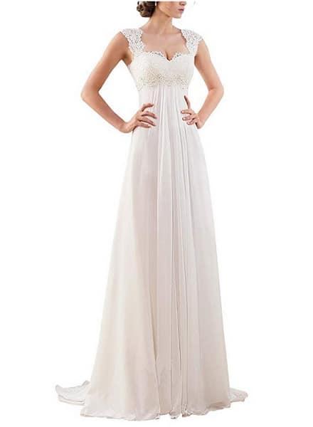 Vintage Brautkleid Hochzeitskleid Spitze schlicht rückenfrei Damen