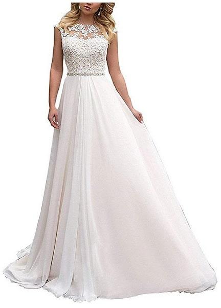 Vintage Brautkleid Hochzeitskleid Spitze schlicht rückenfrei lang Damen