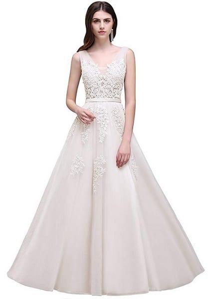 Vintage Brautkleid Hochzeitskleid Spitze schlicht rückenfrei weiß Damen Babyonline