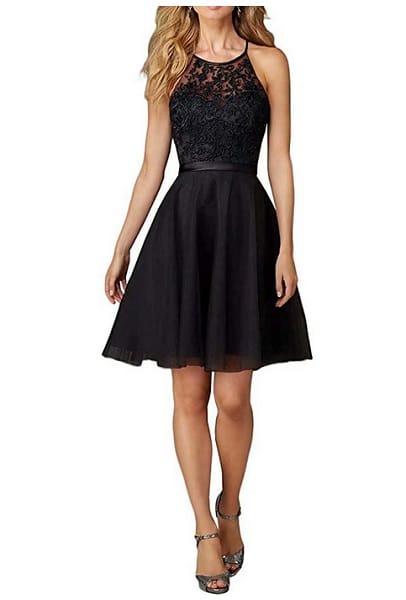 sexy Kleid Abendkleid Damen kurz schwarz Cocktailkleid