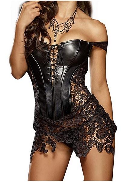 sexy Kleid Damen Corsagenkleid schwarz kurz günstig Spitze